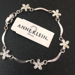 Silvertone and crystal bracelet